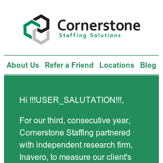Thanks for sharing your opinion of Cornerstone!